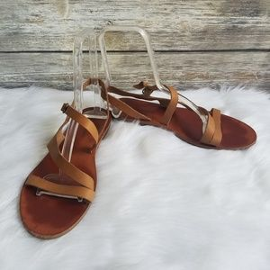 Lucky Brand Strappy Leather Sandals Brown 9.5